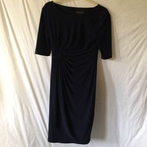 Navy Connected Apparel Side Ruching Dress